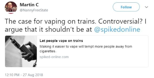 The case for vaping on trains
