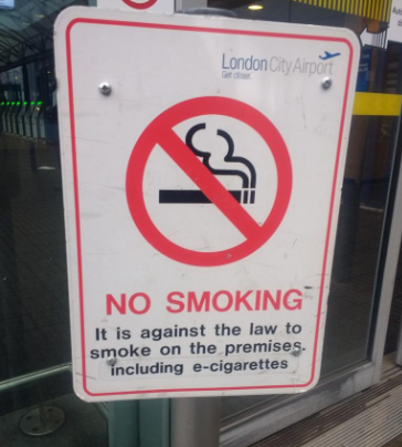 London City Airport no smoking includes e cigarettes