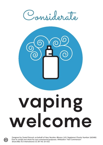 considerate vaping welcome sign